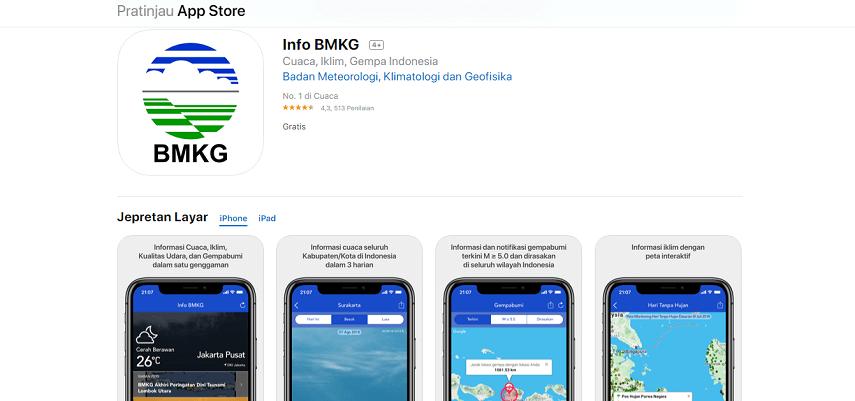 Info BMKG - 8 Aplikasi Ramalan Cuaca Terbaik Android dan iOS