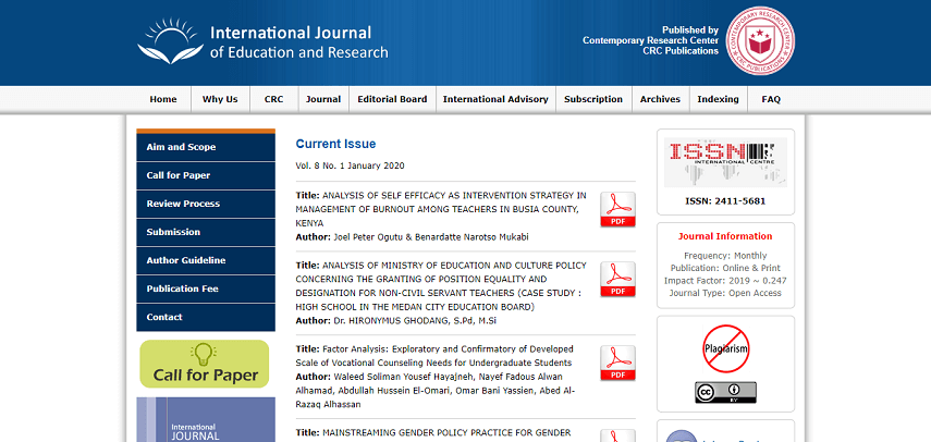 International Journal of Education and Research - 10 Situs Jurnal untuk Skripsi bagi Kamu Para Pejuang Se