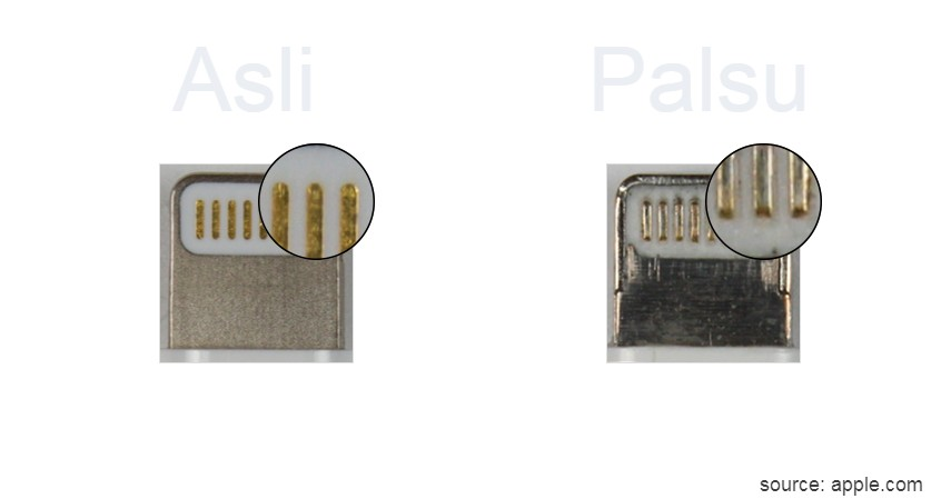 Kabel Lightning Berwarna Emas dan Halus - 8 Ciri Charger iPhone Original Asli yang Wajib Dipahami