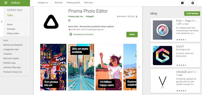 Prisma - Aplikasi Edit Foto Instagram Terbaik untuk Mempercantik Feed
