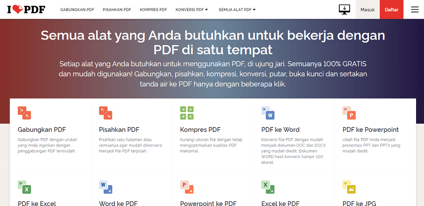 ILovePDF - 7 Situs Konverter PDF ke Word Terbaik Versi CekAja