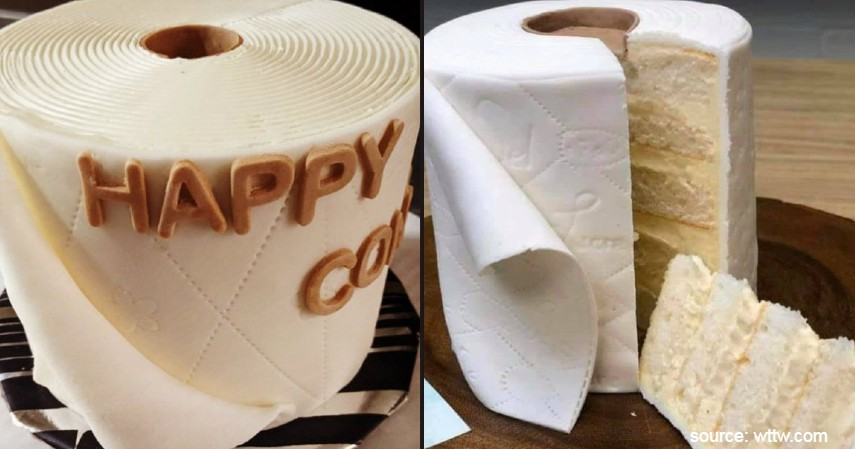 Kue Berbentuk Tisu Toilet - 7 Makanan Unik Bertema Corona Mulai dari Burger hingga Cup Cake Masker