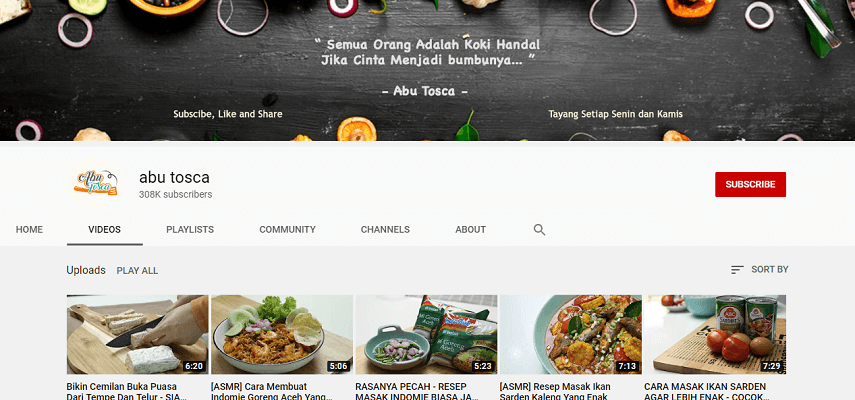 Abu Tosca - Rekomendasi 5 Channel YouTube Buat Belajar Masak dengan Mudah