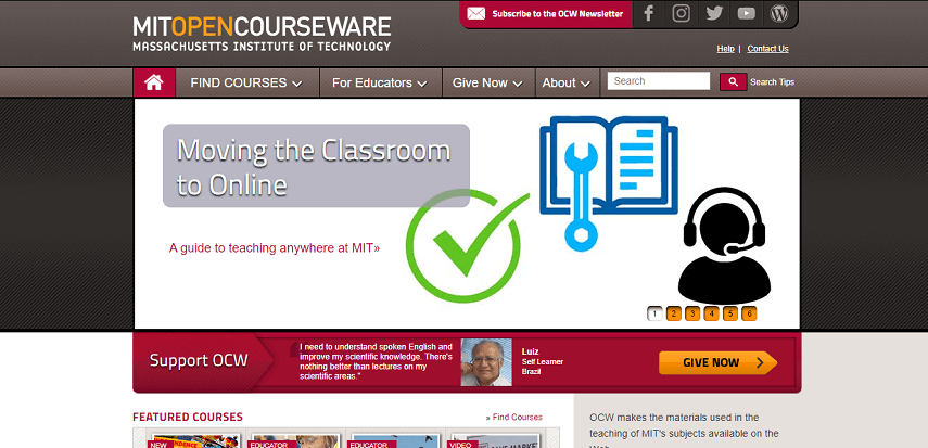 MIT Open Courseware - 10 Situs Belajar Coding Mudah dan Serba-serbinya yang Perlu Diketahui