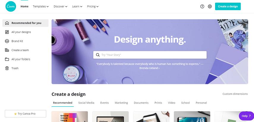 Canva - 10 Aplikasi Desain Grafis Online Gratis Terbaik Paling Populer