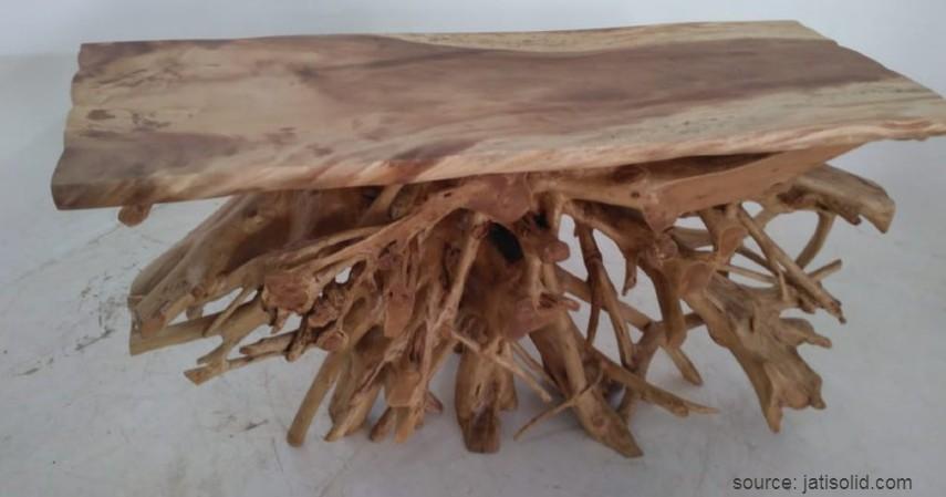 Meja Akar Kayu Jati Abstrak - 15 Kerajinan dari Kayu Paling Kreatif Unik dan Estetik