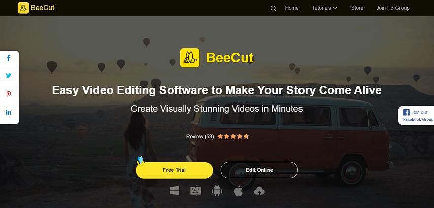BeeCut - 7 Aplikasi Edit Video Online Terbaik untuk Pemula