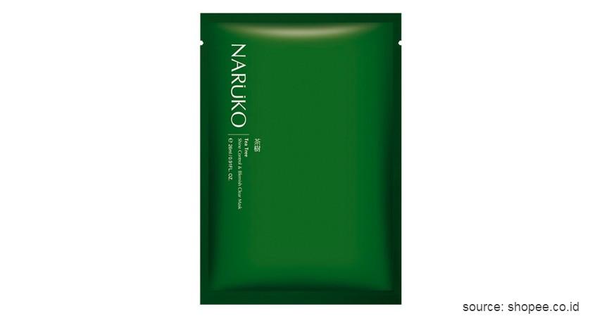Naruko Tea Tree Shine Control & Blemish Clear Mask - 15 Merek Sheet Mask Terbaik 2020