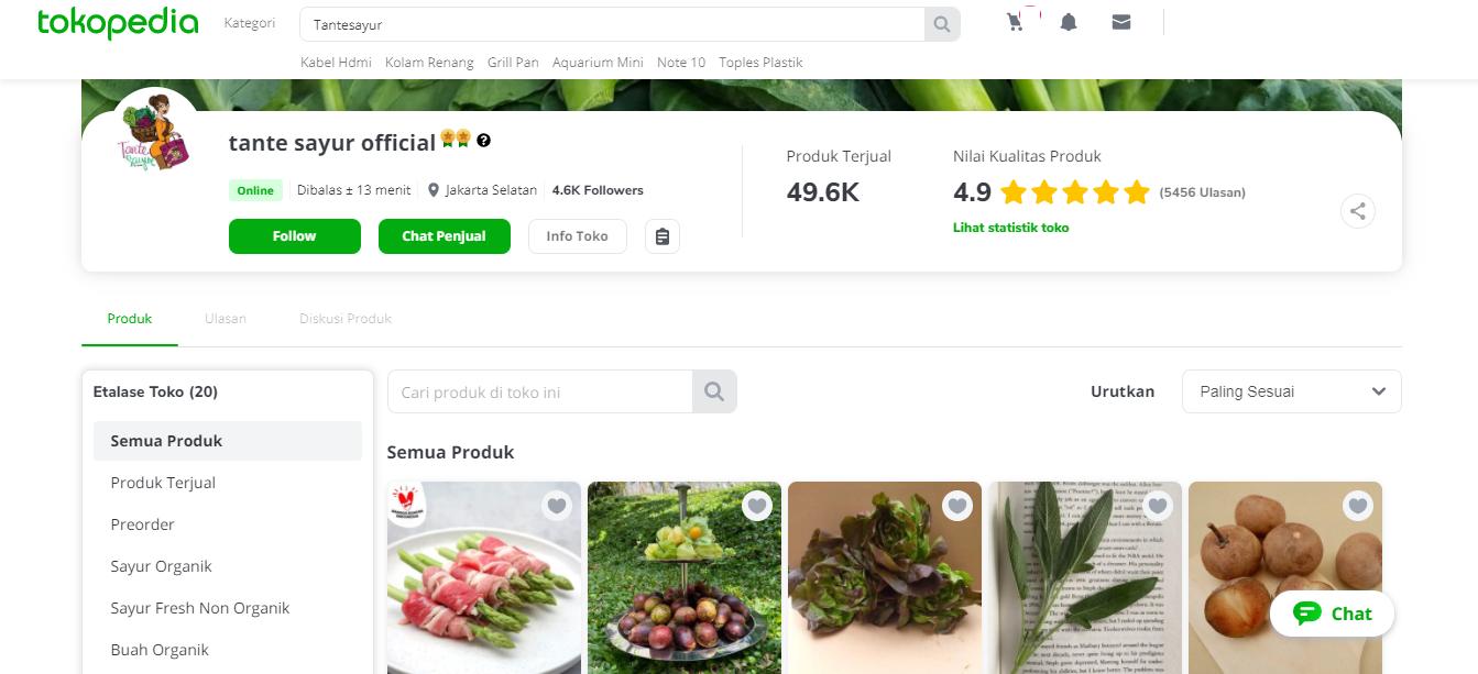 Tante Sayur - 15 Daftar Penjual Sayur dan Buah Online Terlengkap