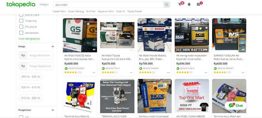 Tokopedia - 5 Daftar Penjual Aki Mobil Online Terbaik dan Terpercaya