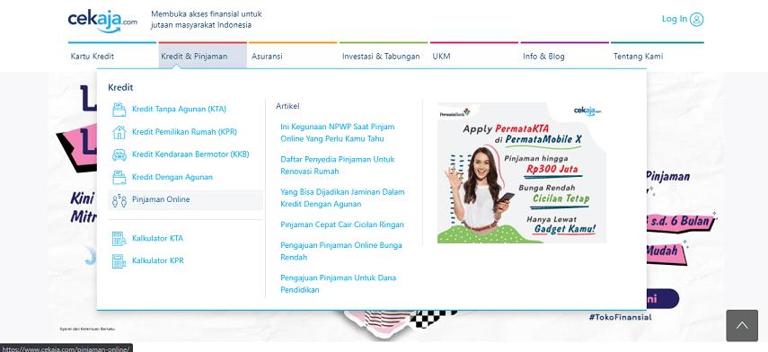 Klik menu Pinjaman Online - Cara Apply Pinjaman Online JULO Lewat CekAja