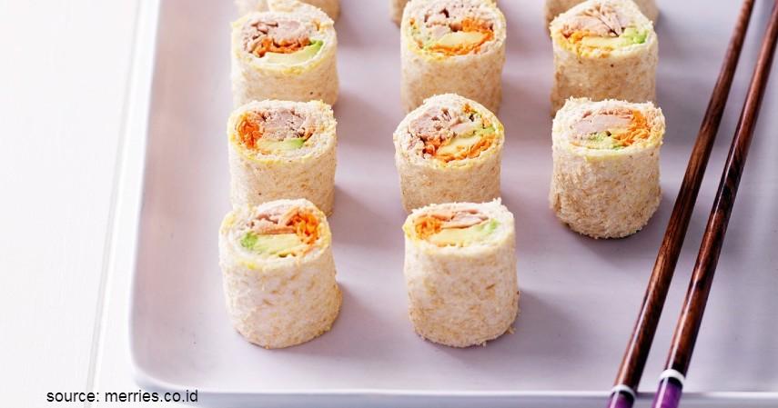 Ide Menu Sarapan dari Roti Tawar - Roti Sushi Roll
