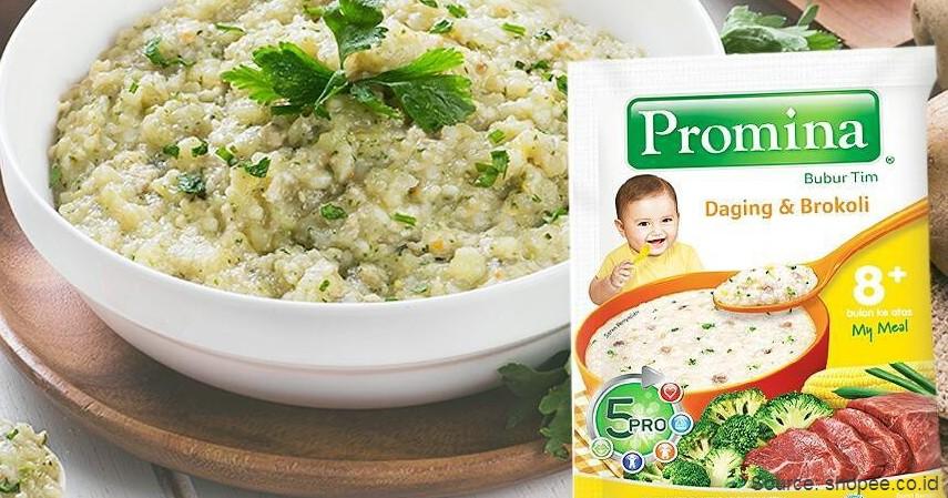 Promina Bubur Tim Daging dan Brokoli - 8 Merek Bubur Bayi Instan Terbaik dengan Komposisi Bergizi