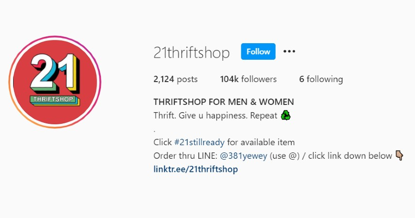 21thriftshop - Rekomendasi Toko Thrift Online Terbaik di Instagram dan Shopee