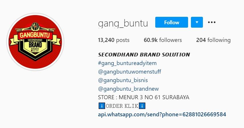 Gang buntu - Rekomendasi Toko Thrift Online Terbaik di Instagram dan Shopee