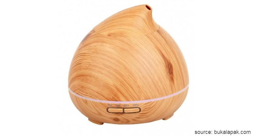 H20 Wooden Humidifier Aroma Diffuser 7 Color LED Light - Brown - Merk Air Humidifier Murah Terbaik