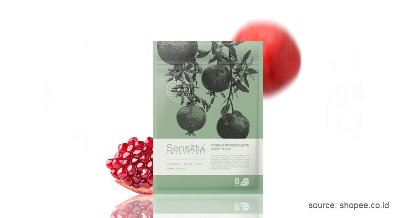 Sensatia Botanicals Firming Pomegranate Sheet Mask - 10 Merk Masker Organik Terbaik 2021