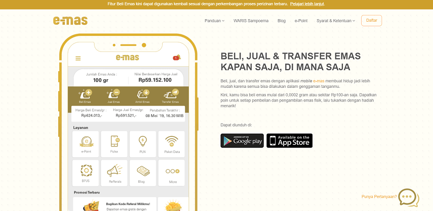 E-mas - 8 Aplikasi Investasi Emas Online Terbaik