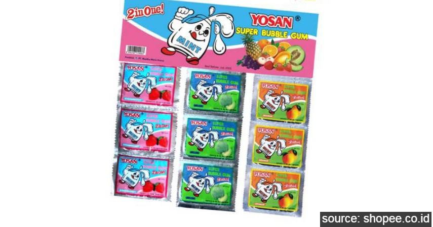 Permen Karet YOSAN - 10 Daftar Snack Jadul Anak SD Generasi 90an