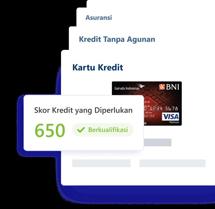 Credit score dapat merekomendasikan kartu kredit, pinjaman, dan asuransi