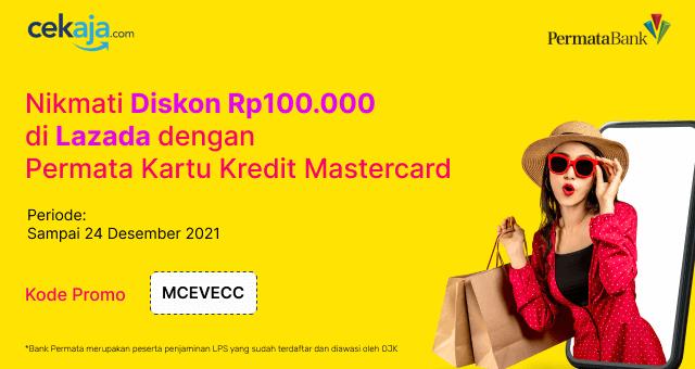 Diskon Rp100.000 di Lazada dengan Permata Kartu Kredit Mastercard